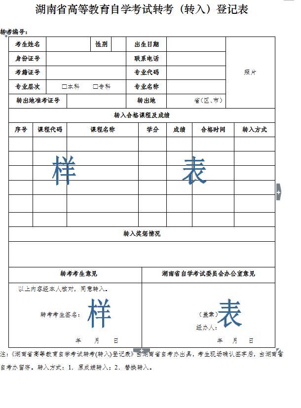 湖南省高等教育自学考试转考(转入)申请登记表样本