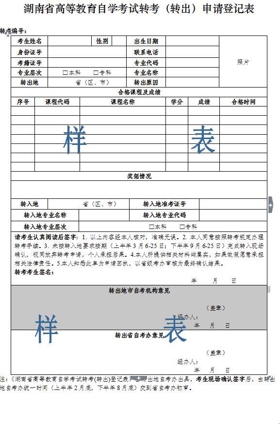 湖南省高等教育自学考试转考(转出)申请登记表样本